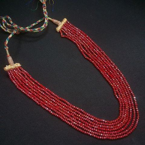 Red Beaded Layered Necklace For Girls / Women With Adjustable Dori