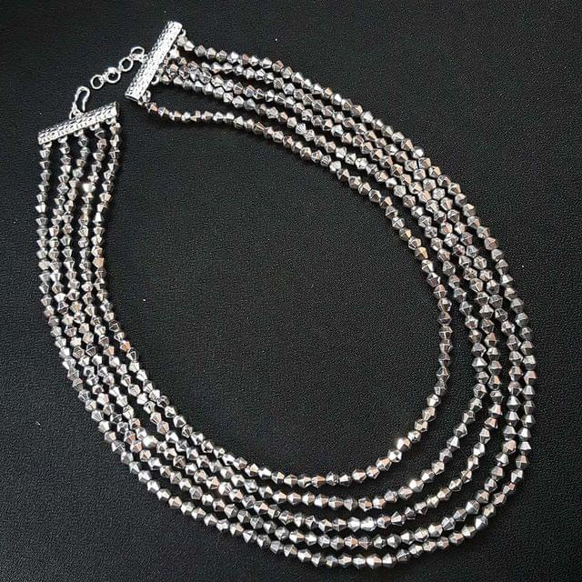 Tyre Cuttings Silver Beaded Layered Necklace For Girls / Women