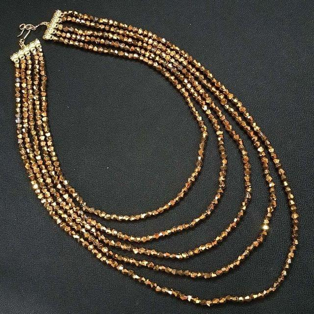 Tyre Cuttings Golden Beaded Layered Necklace For Girls / Women