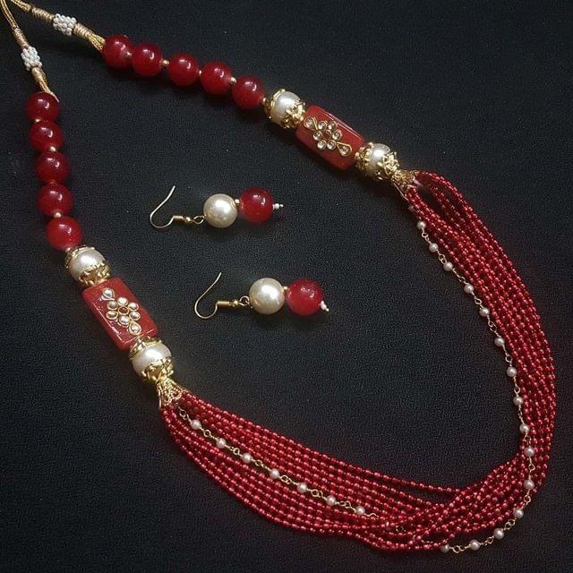 Red Beaded Kundan Work Kantha Necklace Set For Girls With Adjustable Dori