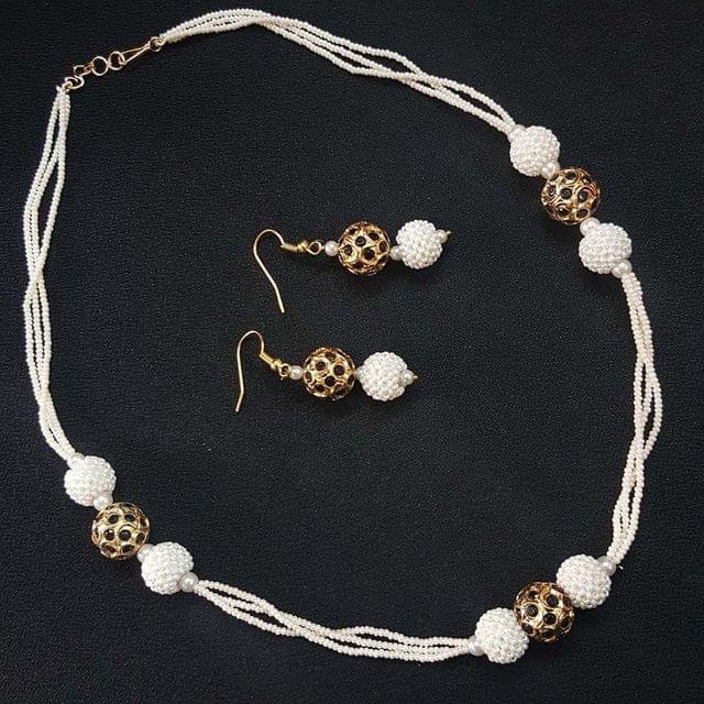 Pearl Jadau Beaded Mala With Earrings For Girls / Women