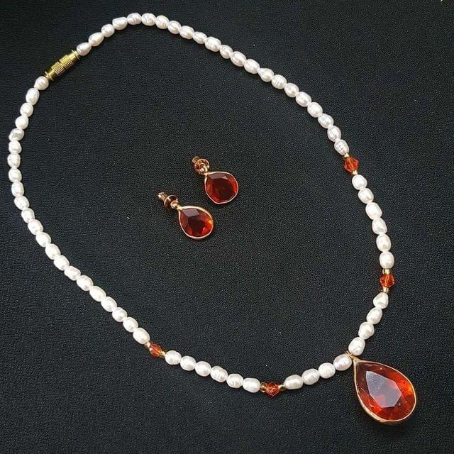 Orange Drop Style Beaded Necklace With Earrings For Girls / Women