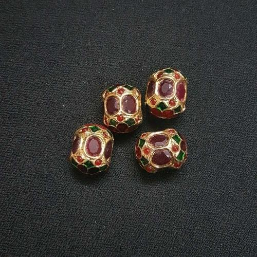 2 pcs, Traditional Jadau Dholak Shape Jewellery Making Beads, 14x18 mm