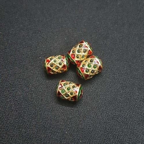 2 pcs, Traditional Jadau Dholak Shape Jewellery Making Beads, 10x15 mm