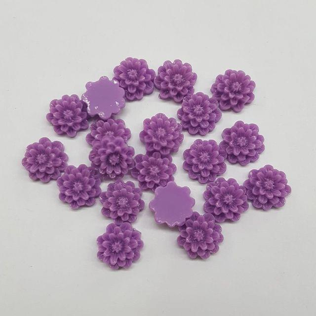Purple, Acrylic Flower 12mm, 100 Pieces