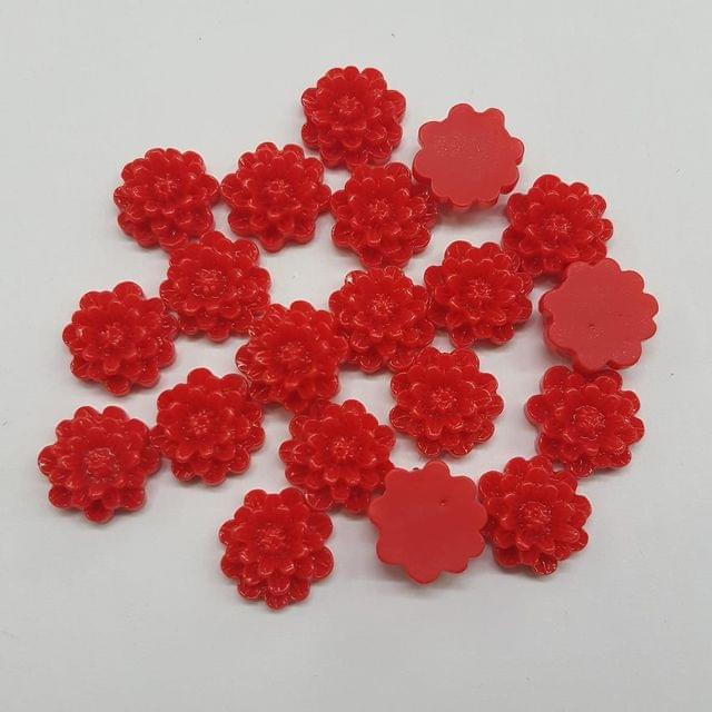Red, Acrylic Flower 12mm, 100 Pieces
