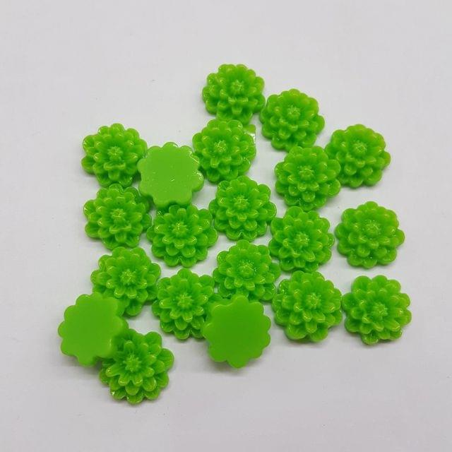 Parrot Green, Acrylic Flower 12mm, 100 pendant
