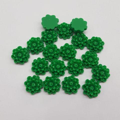 Green, Acrylic Flower 12mm, 100 Pieces