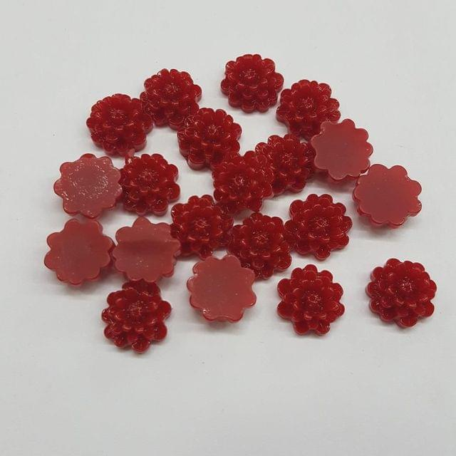 Maroon, Acrylic Flower 12mm, 100 Pieces