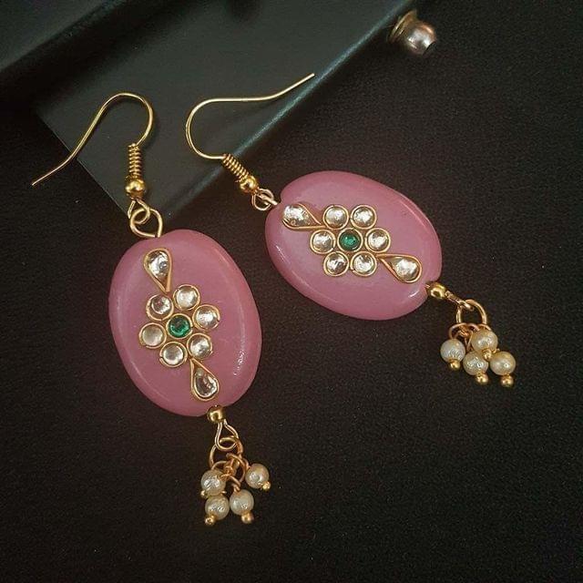 Baby Pink Oval Style Kundan Work Earrings For Girls / Women