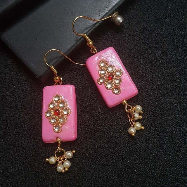 Pink Kundan Work With Pearl Beading Earrings For Girls / Women
