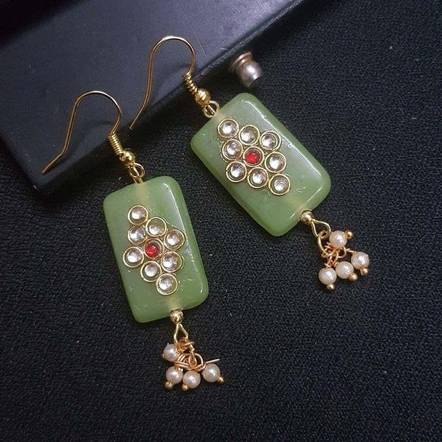 Green Kundan Work With Pearl Beading Earrings For Girls / Women