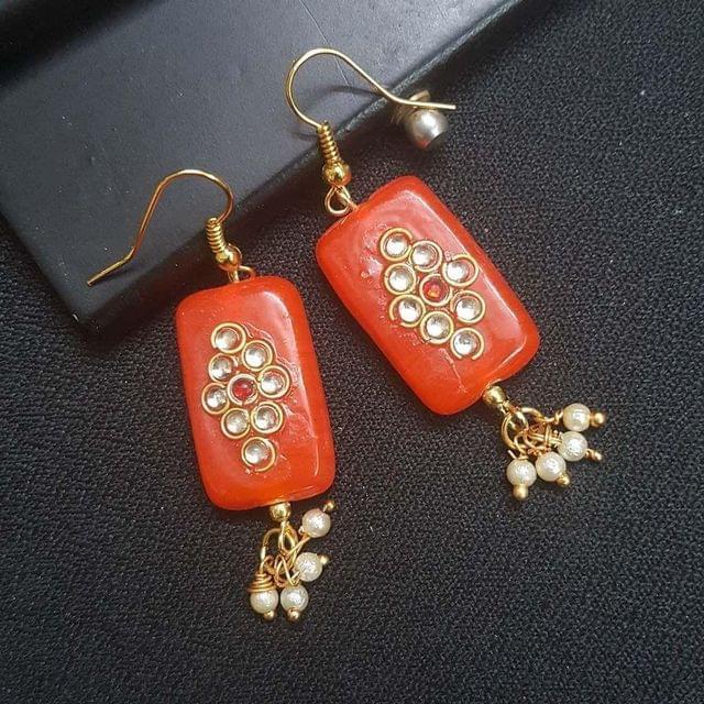 Orange Kundan Work With Pearl Beading Earrings For Girls / Women