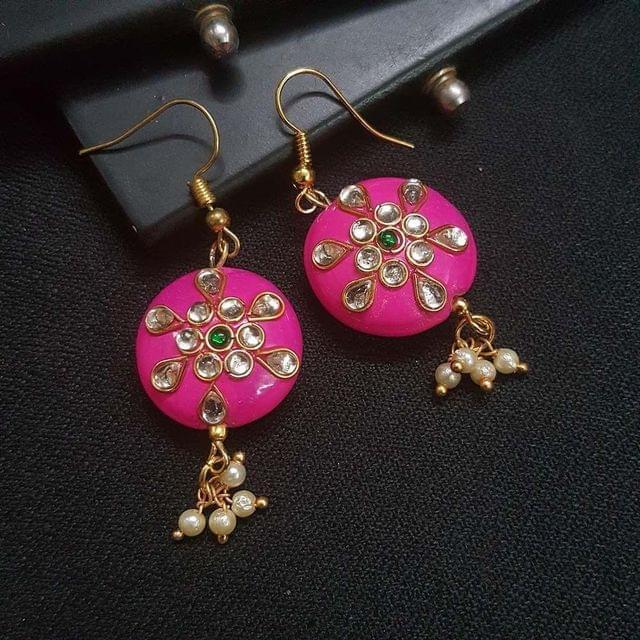 Pink Round Kundan Work Drop Earrings For Girls / Women