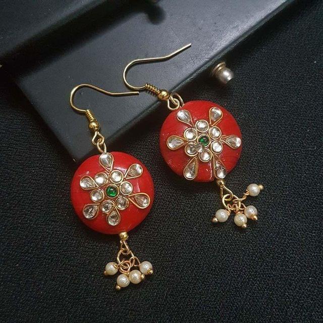 Red Round Kundan Work Drop Earrings For Girls / Women