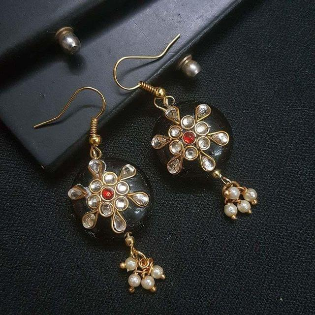 Black Round Kundan Work Drop Earrings For Girls / Women