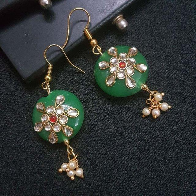 Green Round Kundan Work Drop Earrings For Girls / Women