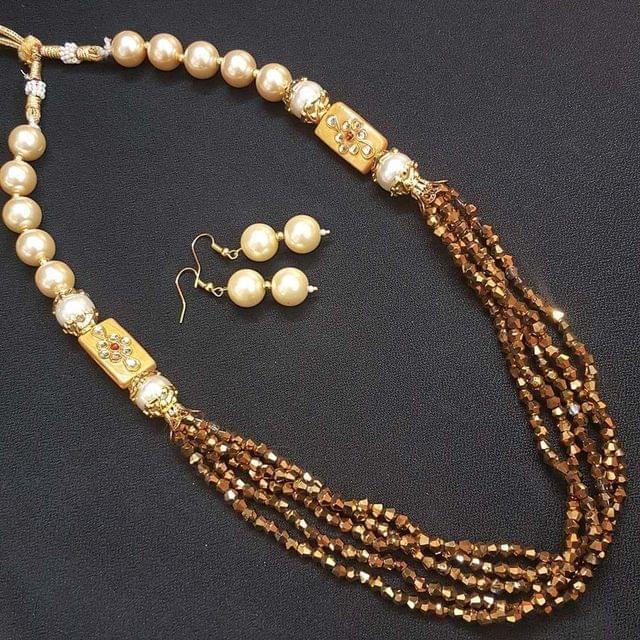 Gold Beaded Kundan Work Kantha Necklace Set For Girls With Adjustable Dori