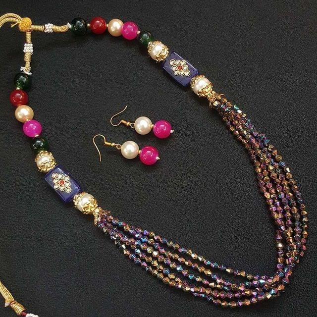 Multi Beaded Kundan Work Kantha Necklace For Girls With Adjustable Dori