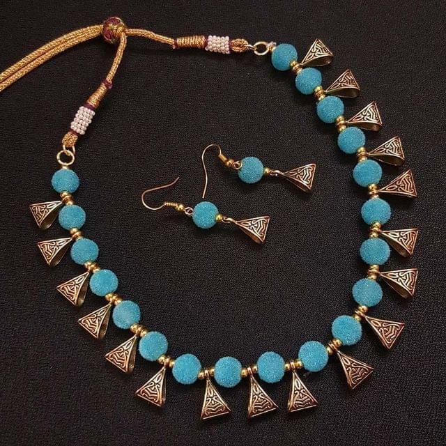 Gold Oxidised Blue Beaded Necklace set For Girls / Women With Adjustable Dori