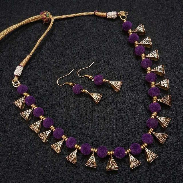 Gold Oxidised Purple Beaded Necklace set For Girls / Women With Adjustable Dori