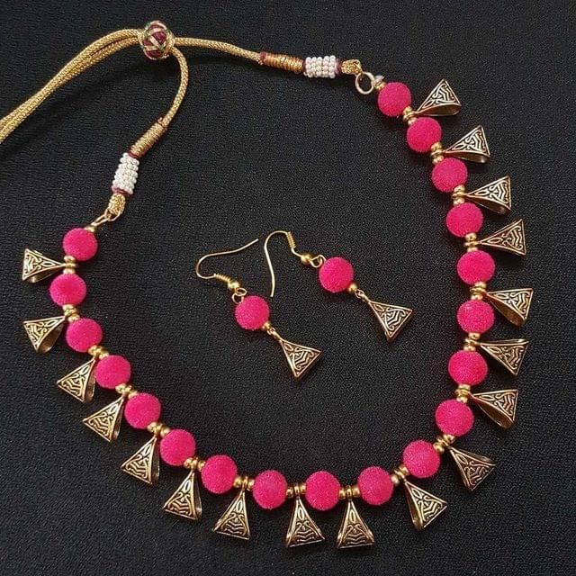 Gold Oxidised Pink Beaded Necklace set For Girls / Women With Adjustable Dori
