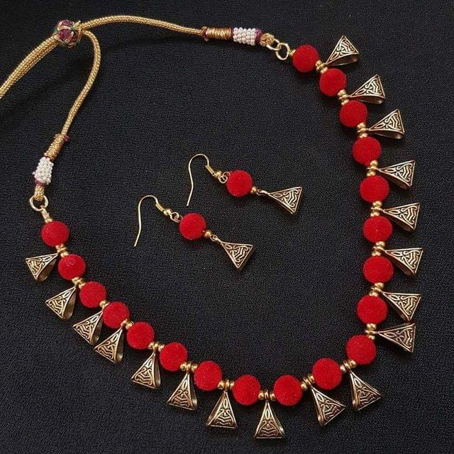 Gold Oxidised Red Beaded Necklace set For Girls / Women With Adjustable Dori