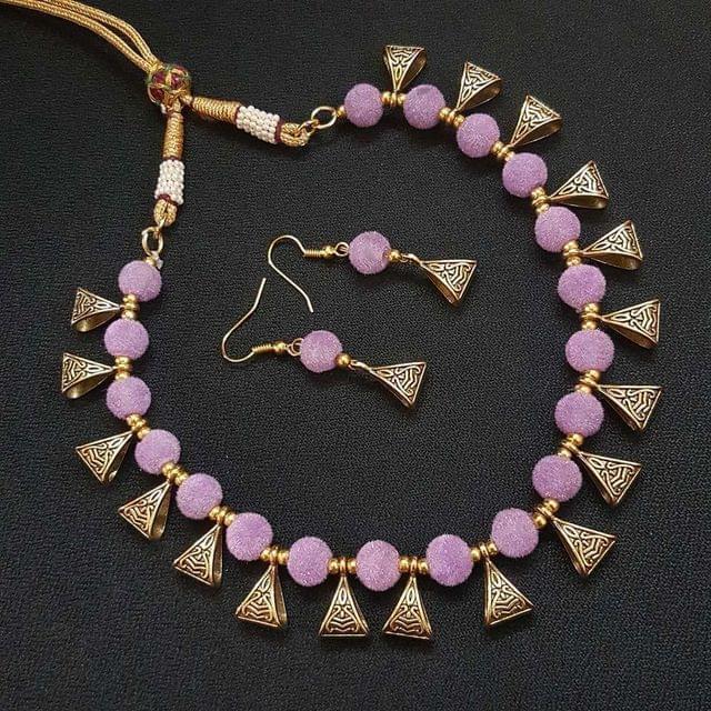 Gold Oxidised Purple Beaded Necklace set For Girls / Women With Adjustable Dori
