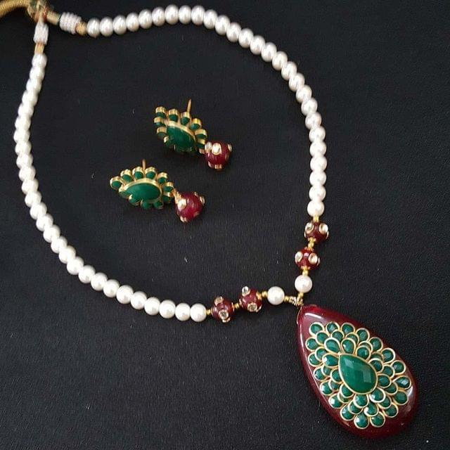 Pachhi Work & Pearl Mala Necklace With Earrings For Girls / Women