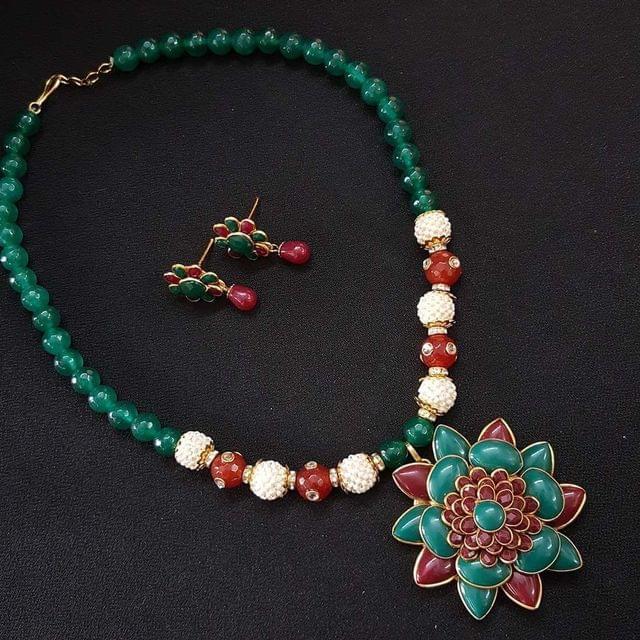 Multi Beaded Pachi Work Mala Necklace For Girls / Women
