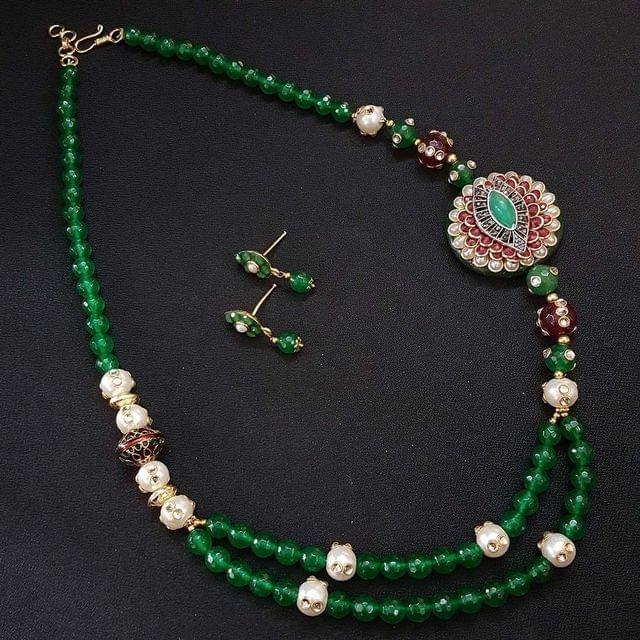 Green Beaded Mala Neacklace with Stud Earrings For Girls / Women