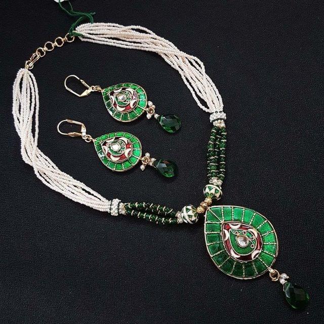 Green Beaded Mala Neacklace with Earrings For Girls / Women