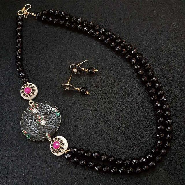 Exclusive Black Beaded Mala Necklace With Earrings For Girls / Women