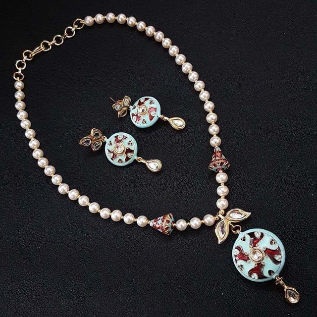 Kundan Meenakari & Pearl Mala Necklace With Earrings For Girls / Women