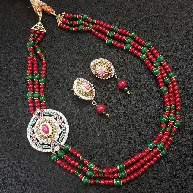 Green & Red Beaded Necklace With Earrings For Women / Girls