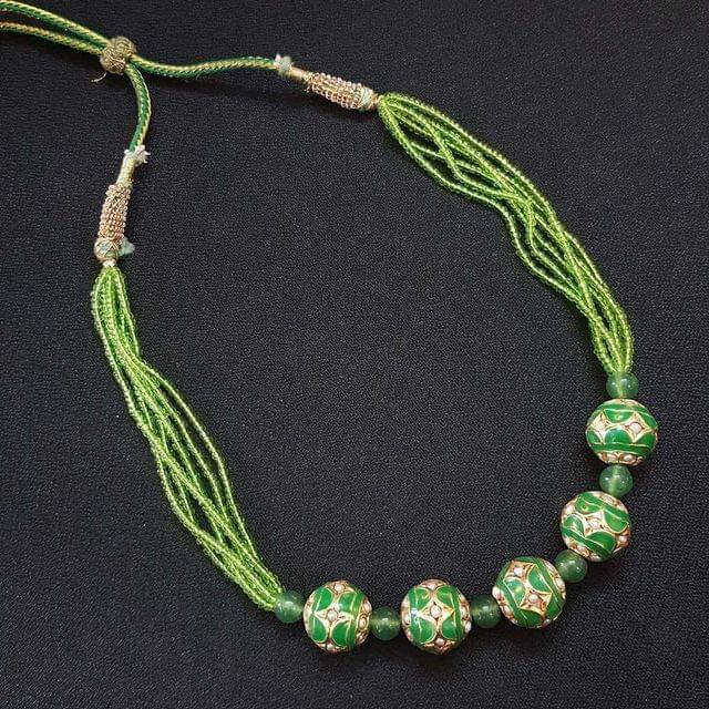 Green Beaded Mala Necklace For Women / Girls With Adjustable Dori