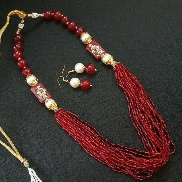Red Rajasthani Kantha Necklace With Adjustable Dori
