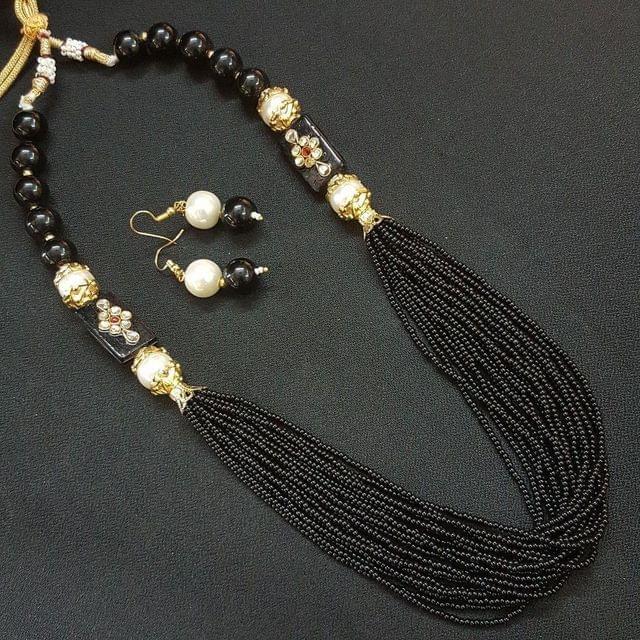 Black Rajasthani Kantha Necklace With Adjustable Dori