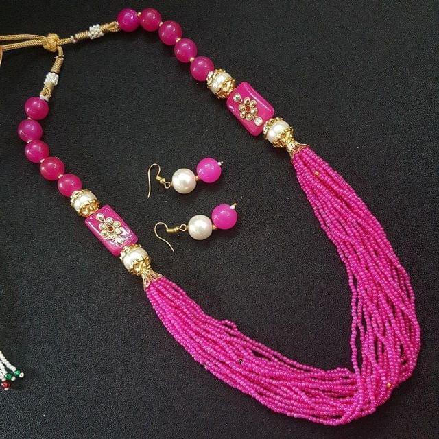 Pink Rajasthani Kantha Necklace With Adjustable Dori