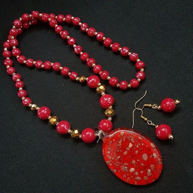 Red Oval Style Necklace For Women