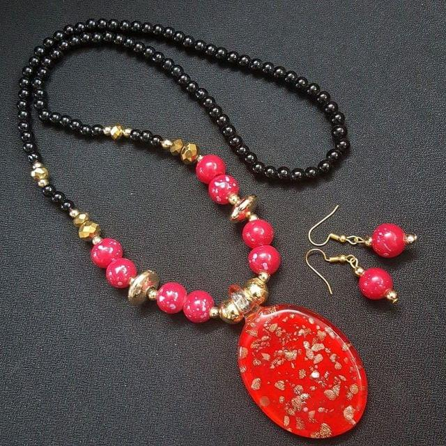 Red Oval Style Necklace With Multi Beads