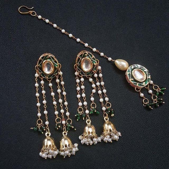 Green Meenakari Pearl Beading Jhumki Earrings With Maang Tikka For Girls / Women