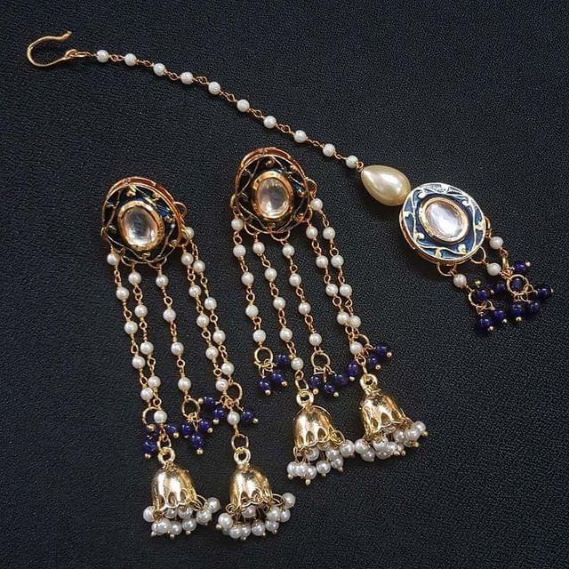 Blue Meenakari Pearl Beading Jhumki Earrings With Maang Tikka For Girls / Women