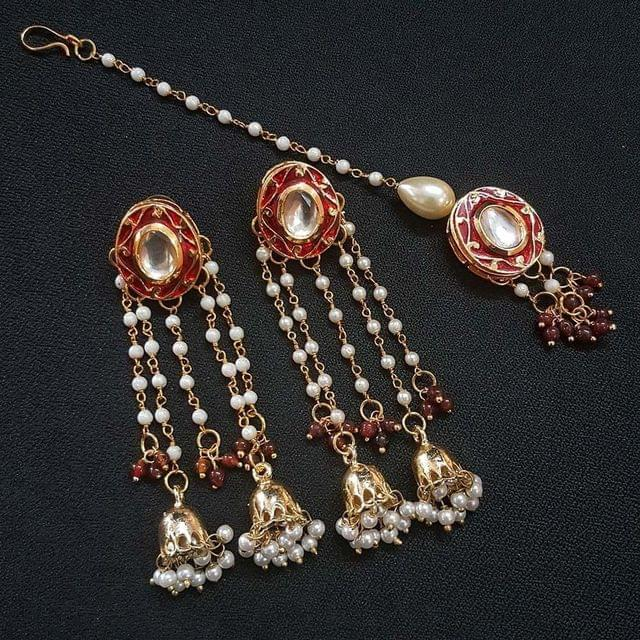 Maroon Meenakari Pearl Beading Jhumki Earrings With Maang Tikka For Girls / Women