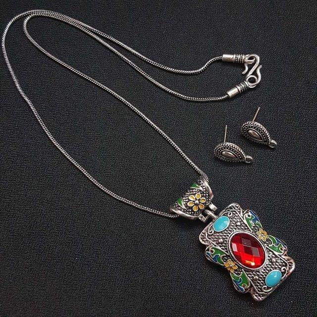 Red German Silver Oxidised Meenakari Chain Necklace With Earrings For Girls / Women
