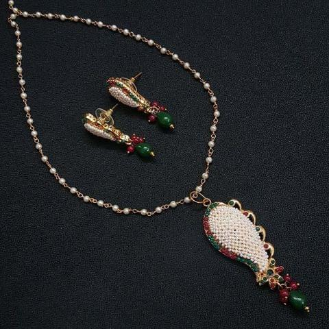 Designer Multi Motti Jaal Puwai Necklace With Earrings For Girls / Women