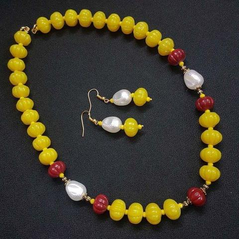 Yellow Kharbooja Beaded Necklace With Earrings For Girls / Women