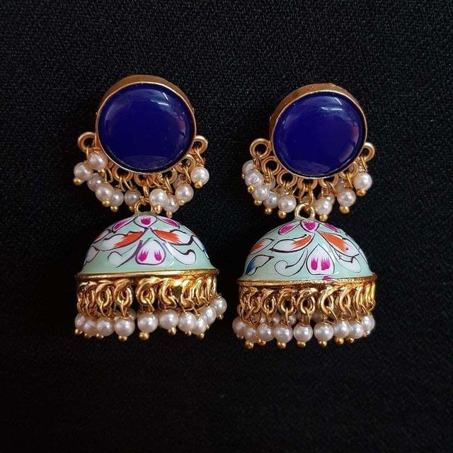 Blue Painting Jhumki Earrings With Pearl Beading