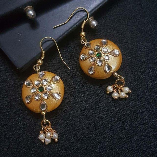 Golden Round Kundan Work Drop Earrings For Girls / Women