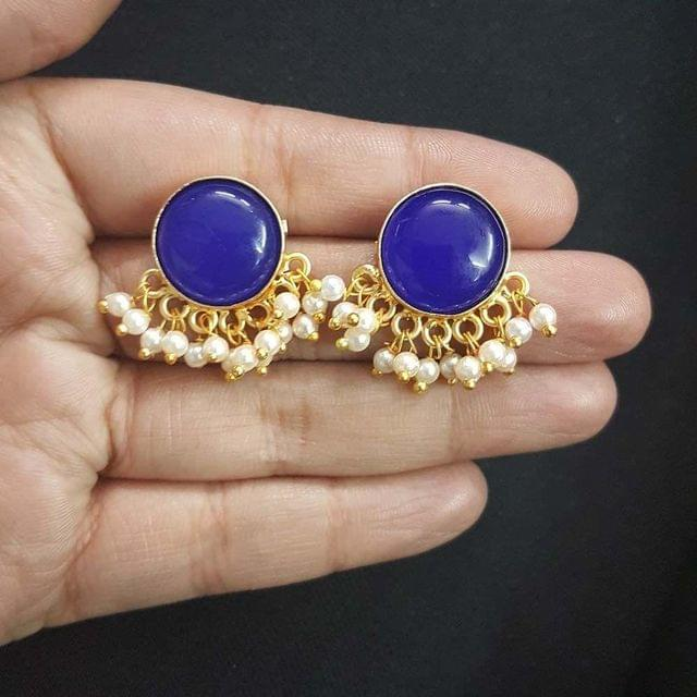 Blue Round Style With Pearl Beading Stud Earrings For Girls / Women